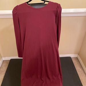 Wine color long sleeve dress button back detail